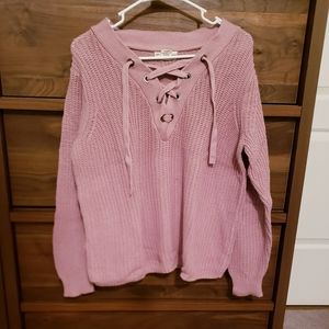 Rose Crocheted Lace-up Sweater